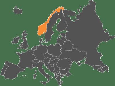 Mapa relleno de Europa con Noruega pintada