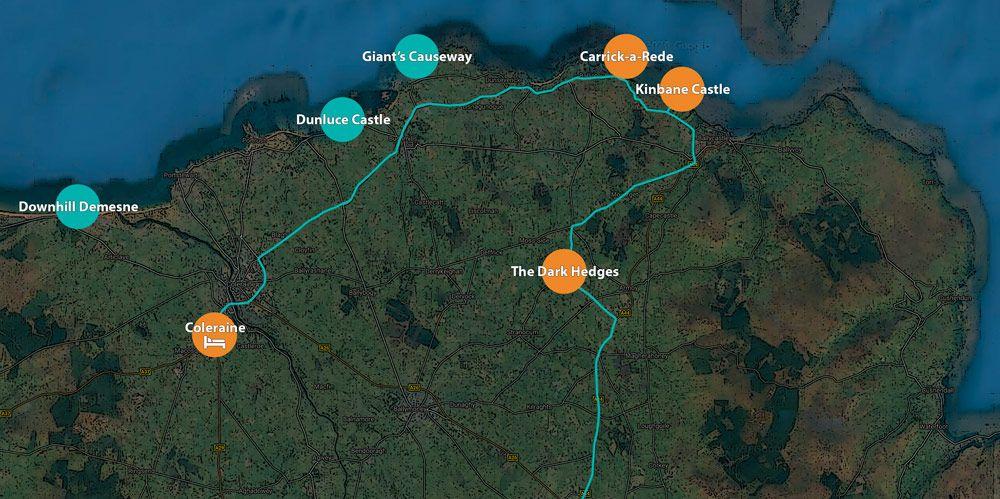 Ruta del viaje a Irlanda en 6 días