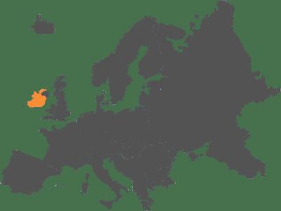 Mapa de europa con irlanda marcada