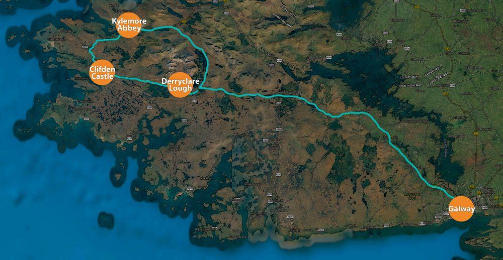 Mapa de la ruta por el Parque de Connemara
