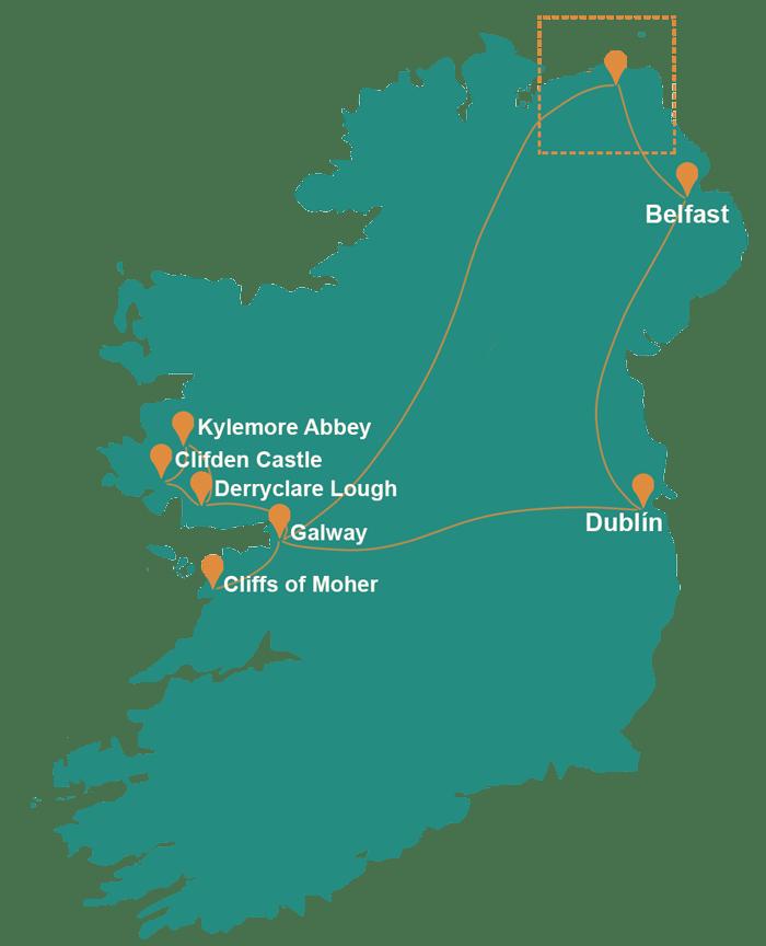 Mapa de Irlanda con las localizaciones del viaje