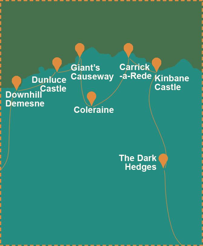 Mapa de Irlanda del Norte con las localizaciones del viaje