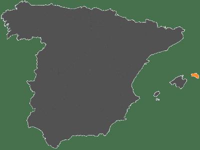 mapa españa con menorca marcada