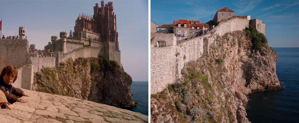 Murallas construidas en el acantilado de Dubrovnik donde rodaron escenas de Juego de Tronos