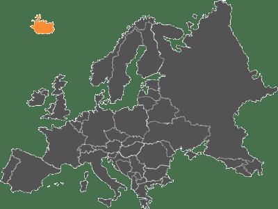 mapa de europa con islandia marcado