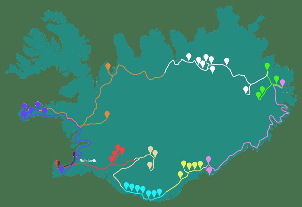 Mapa del itinerario de BAES en el viaje a Islandia en 10 días