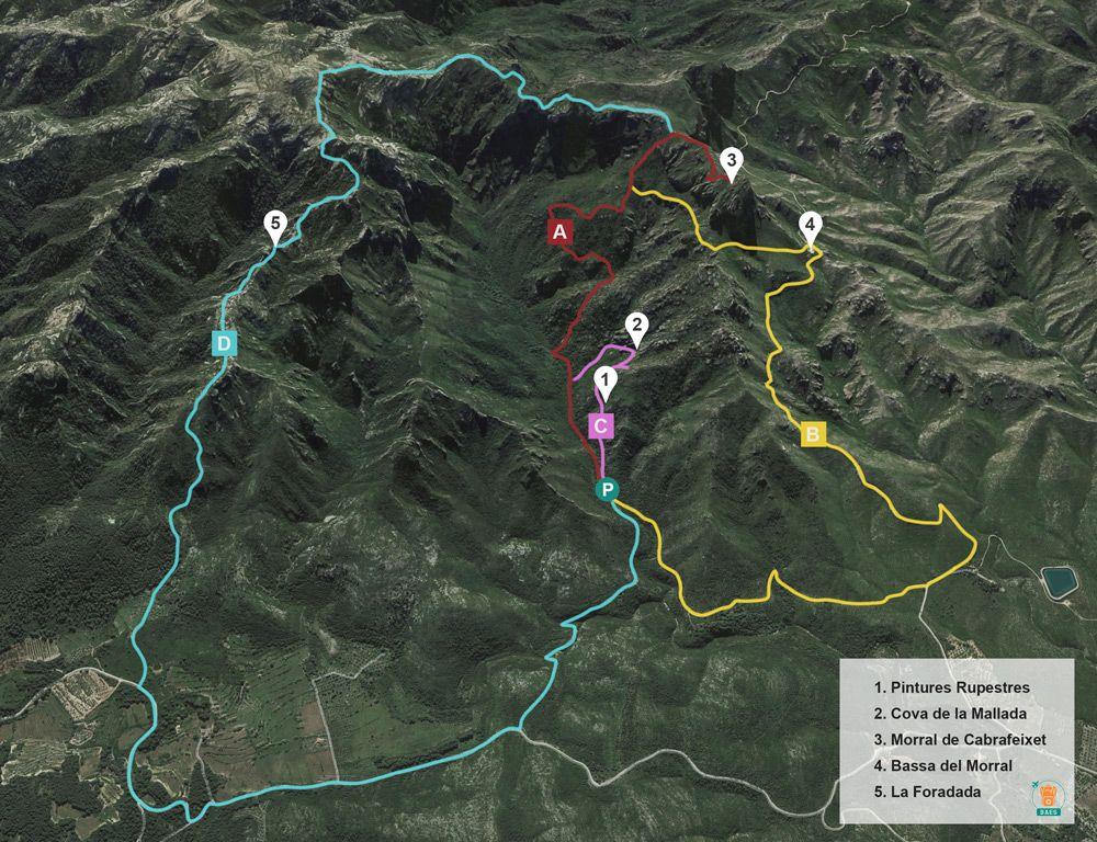 ruta per fer l'excursio al morral de cabrafeixet de les pintures rupestres del perello